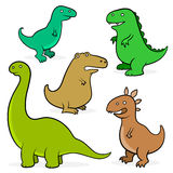 Set of five cartoon dinosaurs for kids Royalty Free Stock Image
