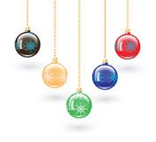 Set of five Christmas balls. Stock Photos