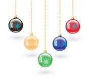 Set of five Christmas balls. stock photos