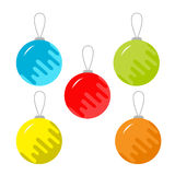 Set of five christmas balls. White background. Isolated. Flat design style. Vector illustration Royalty Free Stock Photos
