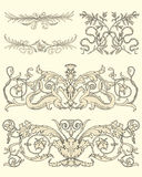 Set of five classical ornaments Royalty Free Stock Photo