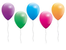 Set Of Five Colorful Balloons royalty free stock images