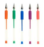 Set of five colorful gel pens stock images