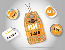 Set of five colorful, hanging sticker and labels Royalty Free Stock Images