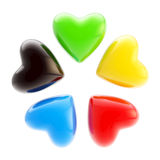 Set of five colorful hearts isolated on white Stock Photo