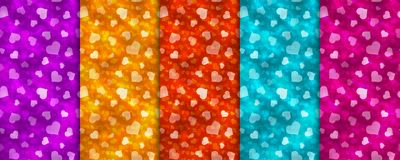 Set of five  colorful seamless patterns with hearts. Set of five bright colorful seamless patterns with hearts. Vector illustration Stock Photo