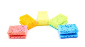 Set of five colorful sponges Royalty Free Stock Images