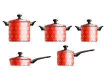 Set of five cooking pots. Set of five red painted cooking pots with flower pattern. Eps10 vector illustration