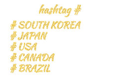 Set of five countries lettering in a golden sand style: South Korea, Japan, USA, Canada, Brazil. Isolated on white Stock Photos