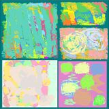 A set of five creative universal abstract greeting cards in green and blue and yellow and pink and brown tones. Collection of five abstract writing textures in vector illustration