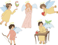 Set of five cute angels Stock Images