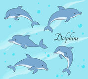 Set of five cute dolphins on sea background. Vector illustration. royalty free illustration