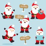 Santa Claus in fun poses Christmas set 4. This is a set of five cute little Santa Claus in different poses suitable for greeting cards, banners, Christmas card royalty free illustration