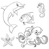 Set five cute marine animal black contour Royalty Free Stock Photography
