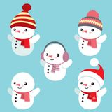 Set of five cute snowmen. This is a vector set of five cute little snowman with winter hats and scarfs that can be removed or combined for your creative purposes stock illustration
