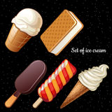 Set of five different ice-cream icons Royalty Free Stock Photo