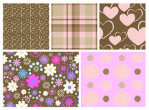 Set of five different seamless. Five seamless from various elements Royalty Free Stock Photos