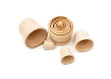 Set of five disassembled wooden matryoshkas Stock Photo