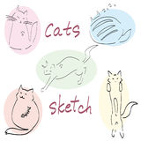 Set of five drawn cats sketch  Royalty Free Stock Images
