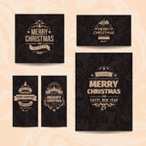 Set of five elegant brown vector classic Christmas greetings cards. With beige background with swirls Stock Images