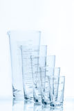 Set of five empty temperature resistant conical beakers of different size Stock Images