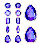 Set of five forms of violet gemstone Stock Photos