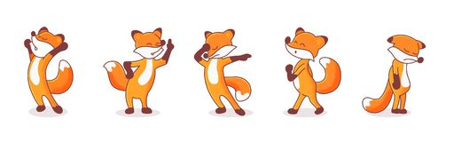 Set of five foxes. Set of five hand-drawn foxes. Animals` emotions. Sticker pack isolated on white background. Doing morning stretch, whistling fox, pointing to royalty free illustration