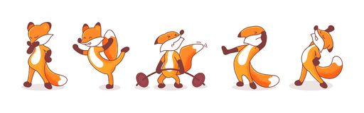 Set of five foxes. Set of five hand-drawn foxes. Animals` emotions. Sticker pack isolated on white background. Thoughtful, pumping iron, stretching, exercise vector illustration