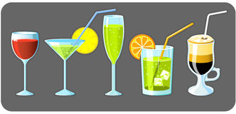 Set of five glasses Royalty Free Stock Photos