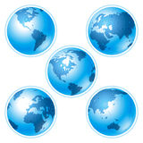 Set of five globes on white background Stock Image