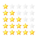 Set of five golden stars rating template on white. Set of five golden stars rating template, isolated on white Royalty Free Stock Photos