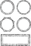 Set of five grunge vector templates for rubber stamps Royalty Free Stock Photo