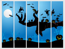 Set of five halloween banner. Illustration vector illustration