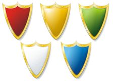 Set of five heraldic shields Stock Photo