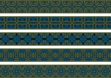 Seamless decorative borders. Set of five illustrated decorative borders made of abstract elements in beige, blue and brown vector illustration