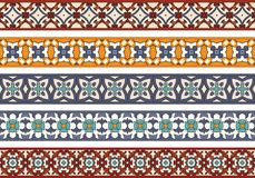 Seamless decorative borders. Set of five illustrated decorative borders made of abstract elements in beige, blue, orange, turqoise and brown stock illustration