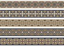 Seamless decorative borders. Set of five illustrated decorative borders made of abstract elements in beige, brown, blue and red stock illustration