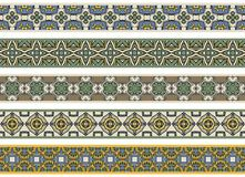 Seamless decorative borders. Set of five illustrated decorative borders made of abstract elements in beige, green, blue, yellow, brown and black stock illustration
