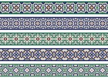 Seamless decorative borders. Set of five illustrated decorative borders made of abstract elements in beige, green, brown and blue vector illustration