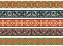 Seamless decorative borders. Set of five illustrated decorative borders made of abstract elements in beige, green, orange, turqoise, green, brown, blue and red royalty free illustration