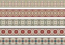 Seamless decorative borders. Set of five illustrated decorative borders made of abstract elements in beige, red, blue and brown royalty free illustration