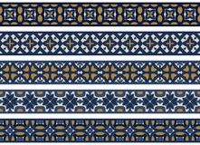 Seamless decorative borders. Set of five illustrated decorative borders made of abstract elements in white, blue and brown vector illustration