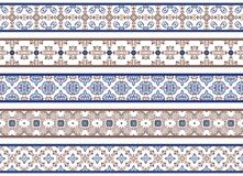 Seamless decorative borders. Set of five illustrated decorative borders made of abstract elements in white, brown and blue vector illustration