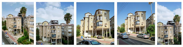 Set of five images stilt three-storey residential  Royalty Free Stock Image