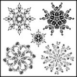 Set of five isolated mandalas. black on white Stock Photo