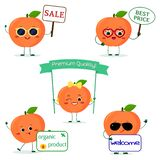 A set of five Kawaii cute peach fruit in cartoon style. With different plates and glasses. Logo, template, design. Flat. A set of five ripe Kawaii cute peach royalty free illustration
