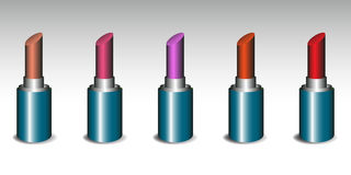 Set of five lipsticks Stock Images