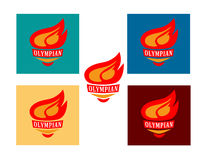 A set of five logotypes of the torch with the inscription Olympian Royalty Free Stock Photo