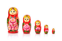 Set of five matryoshka russian nesting dolls Royalty Free Stock Photos