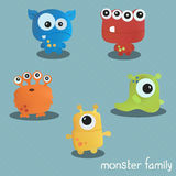 Set with five monsters. Print for Halloween. Stock Photo